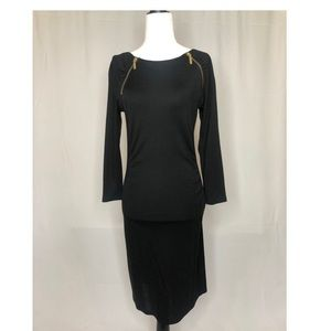 Michael Kors Black Dress with Gold Zippers